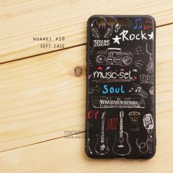 เคส Huawei P10 เคสนิ่ม TPU พิมพ์ลาย (ขอบดำ) ลายที่ 7 Music Set