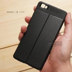 เคส Huawei P8 Lite เคสนิ่ม Hybrid เกรดพรีเมี่ยม ลายหนัง (ขอบนูนกันกล้อง) แบบที่ 2 (มีเส้นตรงกลาง)