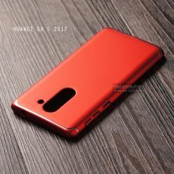 เคส Huawei GR5 2017 เคสแข็งสีเรียบ คลุมขอบ 4 ด้าน สีแดง (แถบสีเงิน บน-ล่าง)