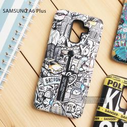เคส Samsung Galaxy A6+ (PLUS) 2018 เคส Hybrid เกรดพรีเมี่ยม 2 ชั้น ขอบยางลดแรงกระแทก พร้อม (ขาตั้ง + สายคล้องนิ้ว) พิมพ์ลายนูน แบบที่ 7