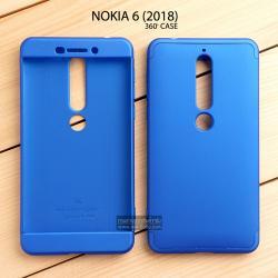 เคส Nokia 6 (2018) เคสแข็งแบบ 3 ส่วน ครอบคลุม 360 องศา (สีน้ำเงิน - น้ำเงิน)
