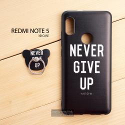 เคส Redmi Note 5 เคสนิ่ม TPU (ขอบดำ) พิมพ์ลายนูน 3D สามมิติ + พร้อมแหวนมือถือ แบบที่ 3 Never give up –meow-