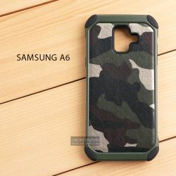 เคส Samsung Galaxy A6 เคส Hybrid บั๊มเปอร์ เสริมขอบกันกระแทก Defender ลายทหาร สีเขียว