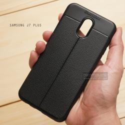 เคส Samsung Galaxy J7 Plus เคสนิ่มกันกระแทก ลายหนัง ขอบนูนกันกล้อง แบบที่ 2 (มีเส้นตรงกลาง)