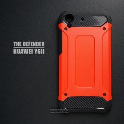 เคส Huawei Y6II เคสบั๊มเปอร์ (เสริมขอบกันกระแทก) สีส้มอมแดง Hybrid Protection