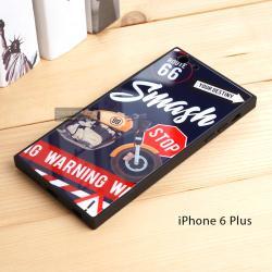 เคส iPhone 6 Plus เคสขอบยางดำ + กระจกกันรอยครอบทับหลังเคส เกรดพรีเมี่ยม พิมพ์ลาย แบบที่ 2
