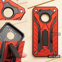 เคส Moto G5 Plus เคสบั๊มเปอร์ กันกระแทก Defender 2 ชั้น (พร้อมขาตั้ง) สีแดง (แบบที่ 2)