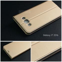 เคส Samsung Galaxy J7 Version 2 (2016) เคสฝาพับเกรดพรีเมี่ยม (เย็บขอบ) พับเป็นขาตั้งได้ สีทอง (Dux Ducis)