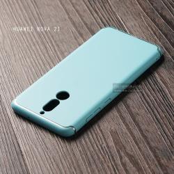 เคส Huawei Nova 2i เคสแข็งสีเรียบ คลุมขอบ 4 ด้าน สีฟ้าอ่อน (แถบสีเงิน บน-ล่าง)