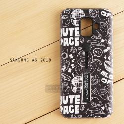 เคส Samsung Galaxy A6 (2018) เคส Hybrid เกรดพรีเมี่ยม 2 ชั้น ขอบยางลดแรงกระแทก พร้อม (ขาตั้ง + สายคล้องนิ้ว) พิมพ์ลายนูน แบบที่ 1
