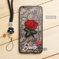 เคส iPhone 6 Plus เคสอะครีลิค ขอบยางสีดำ ลายดอกกุหลาบ (พร้อมสายคล้องโทรศัพท์) พื้นหลังสีดำ