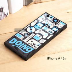 เคส iPhone 6 / 6s เคสขอบยางดำ + กระจกกันรอยครอบทับหลังเคส เกรดพรีเมี่ยม พิมพ์ลาย แบบที่ 2