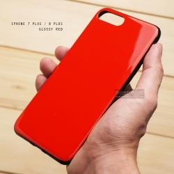 เคส iPhone 7 Plus / 8 Plus เคสแข็งผิวเงา Glossy ขอบยางนิ่ม สีแดง