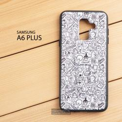 เคส Samsung Galaxy A6 Plus เคสขอบนิ่มสีดำ พิมพ์ลาย แบบที่ 1 (พร้อมขาตั้ง)