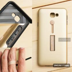 เคส Samsung J7 Prime เคส Hybrid เกรดพรีเมี่ยม 2 ชั้น ขอบยางลดแรงกระแทก พร้อม (ขาตั้ง + สายคล้องนิ้ว) สีทอง
