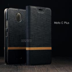 เคส Moto C Plus เคสนิ่ม TPU เคสฝาพับหนัง PVC มีช่องใส่บัตร สีดำ
