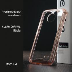 เคส Moto E4 เคส Hybrid ฝาหลังอะคริลิคใส ขอบยางกันกระแทก สีส้มใส
