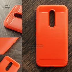 เคส Motorola Moto M เคสนิ่มเกรดพรีเมี่ยม (Texture ลายโลหะขัด) กันลื่น ลดรอยนิ้วมือ สีส้ม
