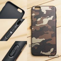 เคส iPhone 6 Plus เคสนิ่ม TPU ลายทหาร (ขอบดำ) สีน้ำตาล