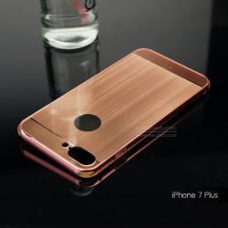 เคส iPhone 7 Plus และ 8 Plus เคสฝาหลัง + Bumper ขอบกันกระแทก (เสริมขอบกันกระแทก) สีโรสโกลด์ (แบบ Luxury)