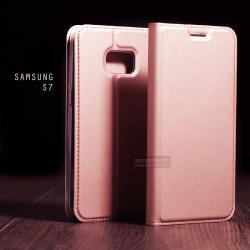 เคส Samsung Galaxy S7 เคสฝาพับเกรดพรีเมี่ยม (เย็บขอบ) พับเป็นขาตั้งได้ สีโรสโกลด์