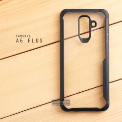 เคส Samsung Galaxy A6 Plus เคสฝาหลังอะคริลิคใส ขอบยางกันกระแทก แบบที่ 2 (ขอบนูนรอบกล้อง) สีดำ