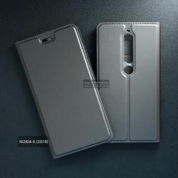 เคส Nokia 6 (2018) เคสฝาพับเกรดพรีเมี่ยม เย็บขอบ พับเป็นขาตั้งได้ สีเทา (DUX DUCIS)