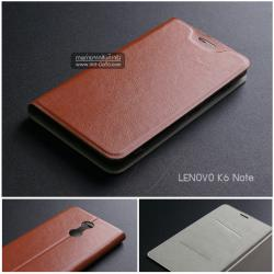 เคส Lenovo K6 Note เคสฝาพับบางพิเศษ พร้อมแผ่นเหล็กป้องกันของมีคม พับเป็นขาตั้งได้ สีน้ำตาล