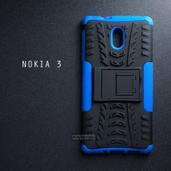 เคส Nokia 3 เคสบั๊มเปอร์ กันกระแทก Defender (พร้อมขาตั้ง) สีน้ำเงิน