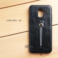 เคส Samsung Galaxy A6 (2018) เคส Hybrid 2 ชั้น พิมพ์ลายหนัง สีดำ (พร้อมสายคล้องนิ้ว)