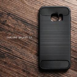 เคส Samsung Galaxy S7 เคสนิ่มเกรดพรีเมี่ยม (Texture ลายโลหะขัด) กันลื่น ลดรอยนิ้วมือ สีดำ