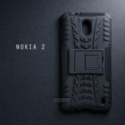เคส Nokia 2 เคสบั๊มเปอร์ กันกระแทก Defender (พร้อมขาตั้ง) สีดำ