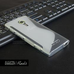 เคส Alcatel Onetouch Flash 2 เคสนิ่ม TPU แบบทูโทน สีขาว