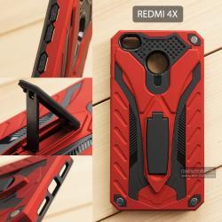 เคส Xiaomi Redmi 4X เคสบั๊มเปอร์ กันกระแทก Defender 2 ชั้น (พร้อมขาตั้ง) สีแดง (แบบที่ 2)