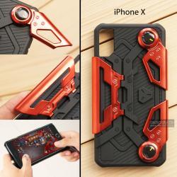 เคส iPhone X เคสนิ่ม Hybrid (GAMER CASE) พร้อมขาตั้ง + ที่จับสำหรับเล่นเกม (สีแดง)