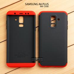 เคส Samsung Galaxy A6 Plus เคสแข็ง 3 ส่วน ครอบคลุม 360 องศา (สีดำ - แดง)