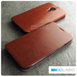 เคส Meizu MX5 เคสหนัง + แผ่นเหล็กป้องกันตัวเครื่อง (บางพิเศษ) สีน้ำตาล