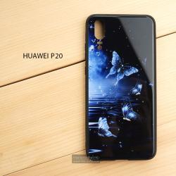 เคส Huawei P20 เคสขอบยางดำ + กระจกกันรอยครอบทับหลังเคส เกรดพรีเมี่ยม พิมพ์ลาย แบบที่ 2