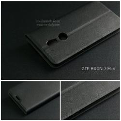 เคส ZTE Axon 7 Mini เคสฝาพับ ลายไม้ พร้อมช่องใส่บัตรด้านใน (พับเป็นขาตั้งได้) สีดำ