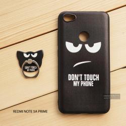 เคส Redmi Note 5A Prime เคสนิ่ม TPU พิมพ์ลายนูน (ขอบดำ) + แหวนมือถือ แบบที่ 2 Don't touch my phone