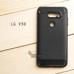 เคส LG V30 เคสนิ่มเกรดพรีเมี่ยม (Texture ลายโลหะขัด) กันลื่น ลดรอยนิ้วมือ สีดำ