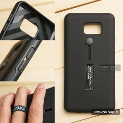 เคส Samsung Galaxy Note 5 เคส Hybrid เกรดพรีเมี่ยม 2 ชั้น ขอบยางลดแรงกระแทก พร้อม (ขาตั้ง + สายคล้องนิ้ว) สีดำ