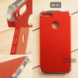 เคส Xiaomi Mi A1 เคสแข็ง 3 ส่วน (เสริมมุมลดแรงกระแทก) ครอบคลุม 360 องศา (สีแดง - สีเงินเงา)