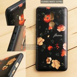 เคส Huawei Mate 10 Pro เคสอะครีลิค ขอบยางสีดำ พิมพ์ลายนูน (Flower) สีดำ