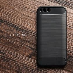 เคส Xiaomi MI 6 เคสนิ่มเกรดพรีเมี่ยม (Texture ลายโลหะขัด) กันลื่น ลดรอยนิ้วมือ สีดำ