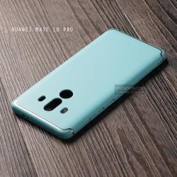 เคส Huawei Mate 10 Pro เคสแข็งสีเรียบ คลุมขอบ 4 ด้าน สีฟ้า (แถบสีเงิน บน-ล่าง)