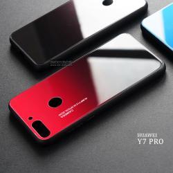 เคส Huawei Y7 PRO (2018) เคสขอบนิ่มสีดำ + กระจกกันรอยครอบทับหลังเคส (สีแดงอ่อน ดำ - ผิวเงา)