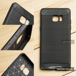 เคส Samsung Galaxy Note FE เคสนิ่มเกรดพรีเมี่ยม (Texture ลายโลหะขัด) กันลื่น ลดรอยนิ้วมือ สีดำ