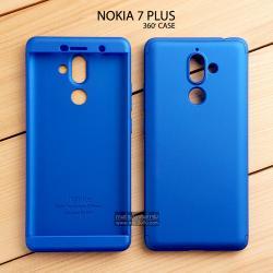 เคส Nokia 7 Plus เคสแข็งแบบ 3 ส่วน ครอบคลุม 360 องศา (สีน้ำเงิน - น้ำเงิน)
