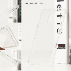 เคส Samsung Galaxy A8 2018 เคส Hybrid ฝาหลังอะคริลิคใส ขอบยางกันกระแทก สีใส